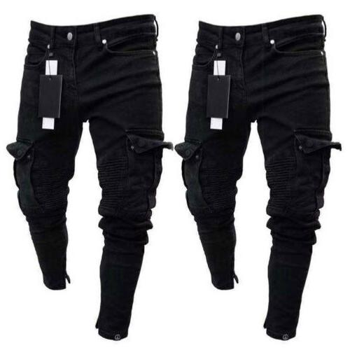 Men Ripped Skinny Jeans Trousers Casual Pants
