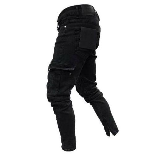 Men Biker Jeans Frayed Destroyed Casual Pants