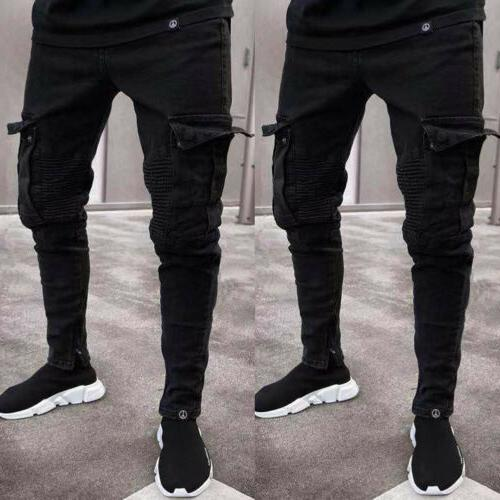 Men Jeans Frayed Trousers Casual Denim Pants