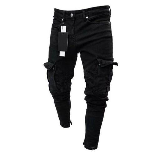 Men Jeans Frayed Trousers Casual Denim