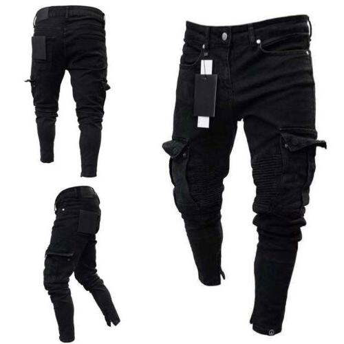 Men Jeans Frayed Casual Denim Pants