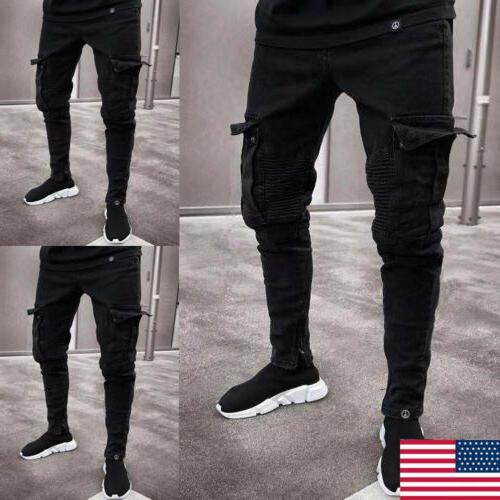 men ripped biker skinny jeans frayed destroyed