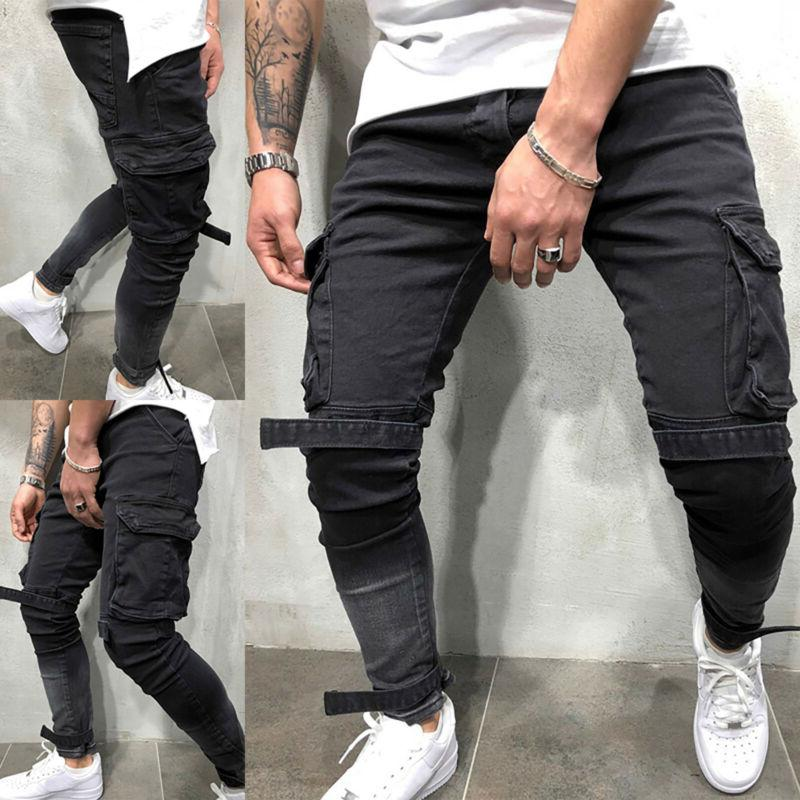 US Men Skinny Jeans Frayed Trousers Slim Fit Denim Pants