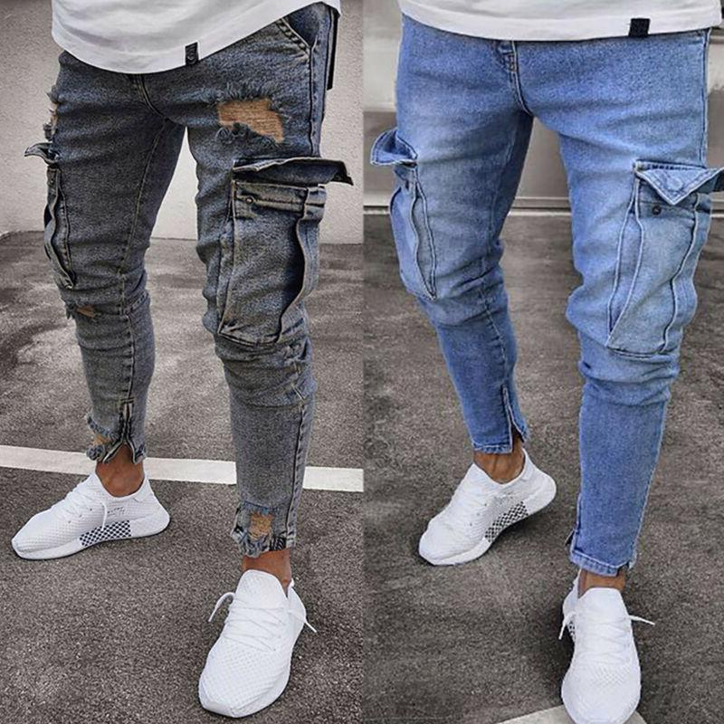 Men Ripped Jeans Frayed Slim Trousers
