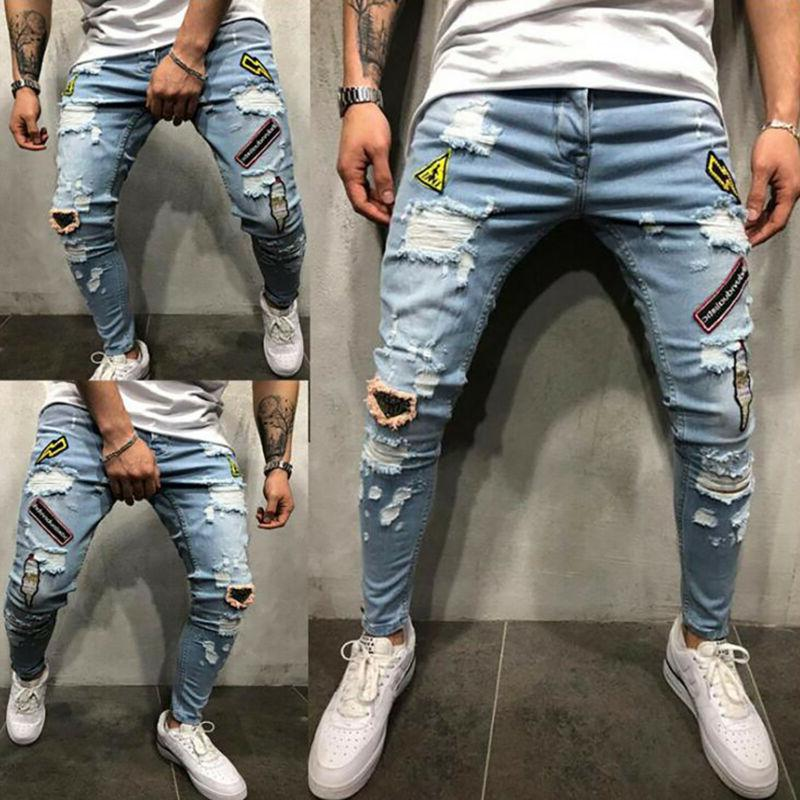 Men Ripped Jeans Pants Slim Fit Trousers