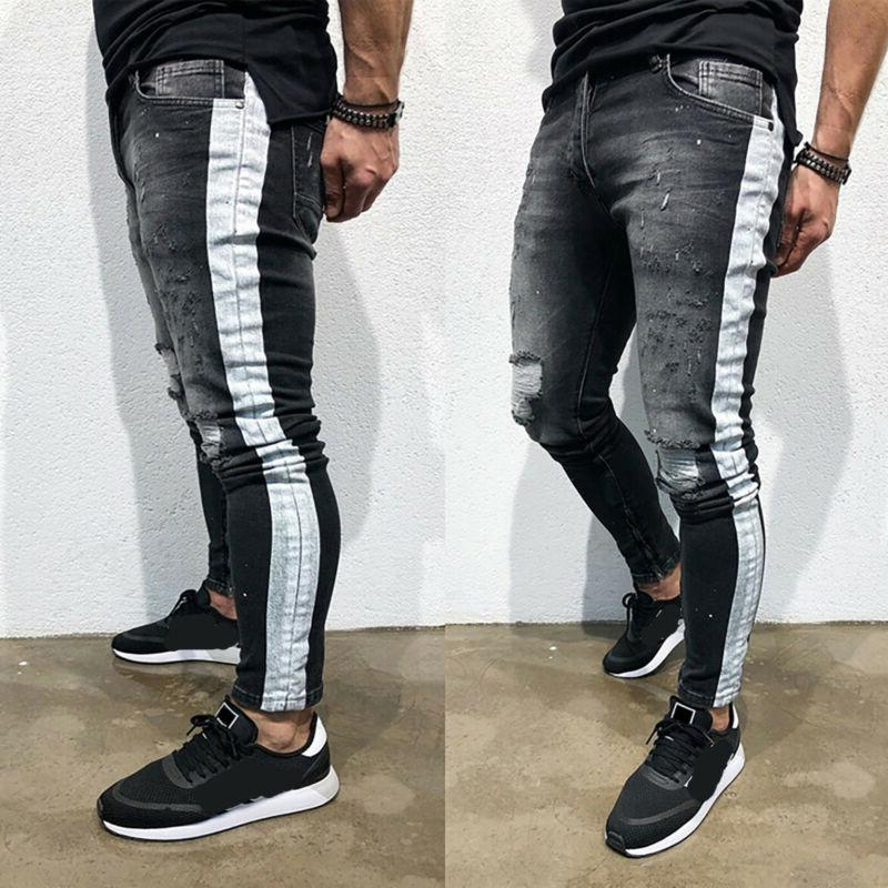 Men Ripped Jeans Frayed Slim Fit Denim Trousers