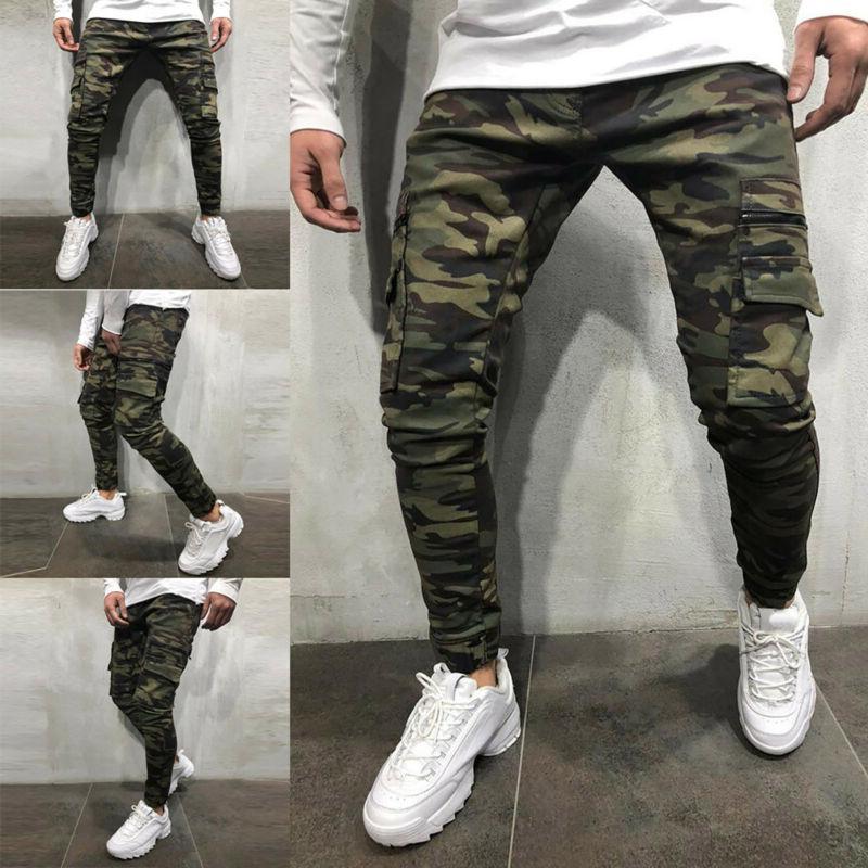 Mens Camo Skinny Jeans Trousers Biker Slim Camouflage Denim