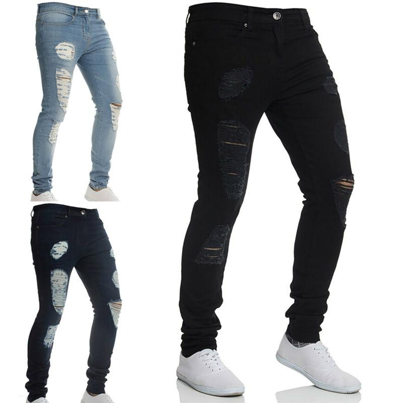 Men Ripped Skinny Jeans Distressed Frayed Fit Denim
