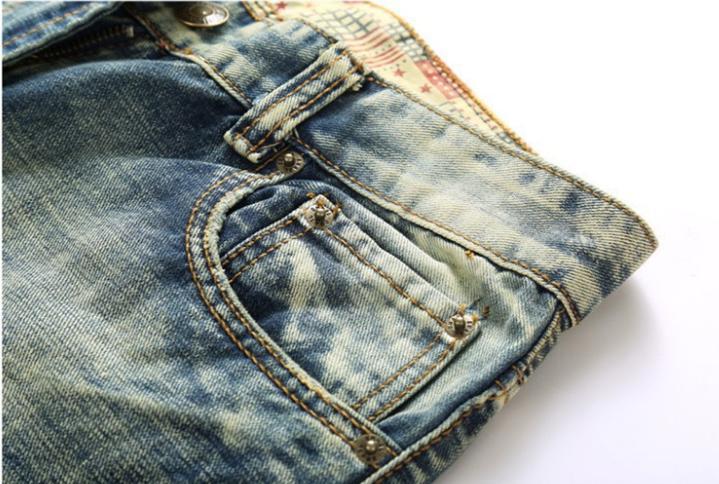 Men Jeans Frayed Casual Slim Jogger Denim Trousers
