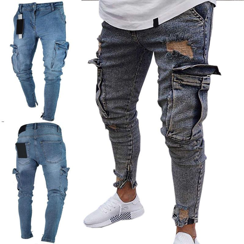 Men Jeans Frayed Slim Fit Trousers