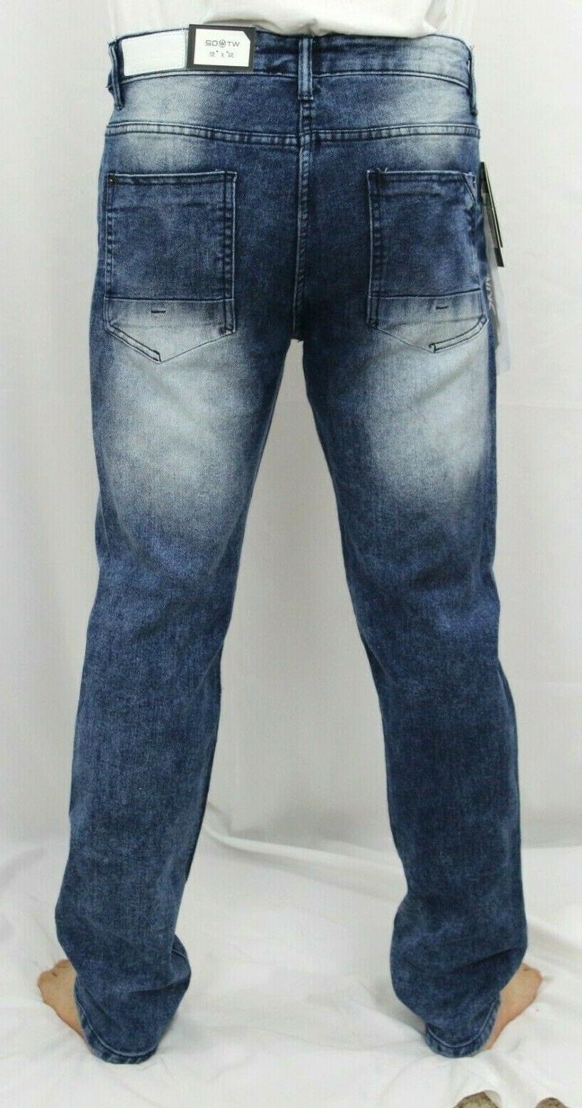 WT02 Men Skinny Jeans Ripped Stretch Denim Pants Distressed