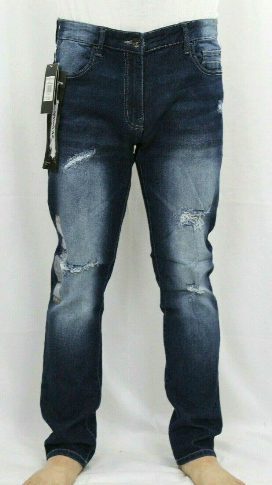 WT02 Men Ripped Pants Distressed Slim Fit