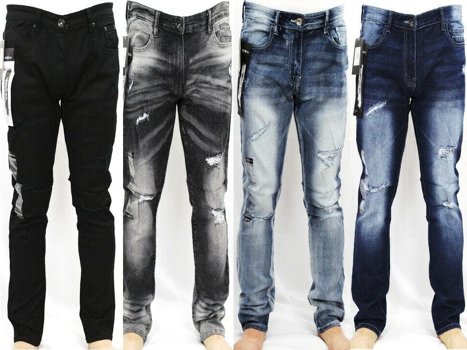 men ripped stretch skinny denim jeans 6