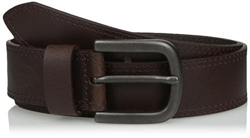 Dickies Mens 100/% Leather Jeans Belt with Stitch Design and Prong Buckle