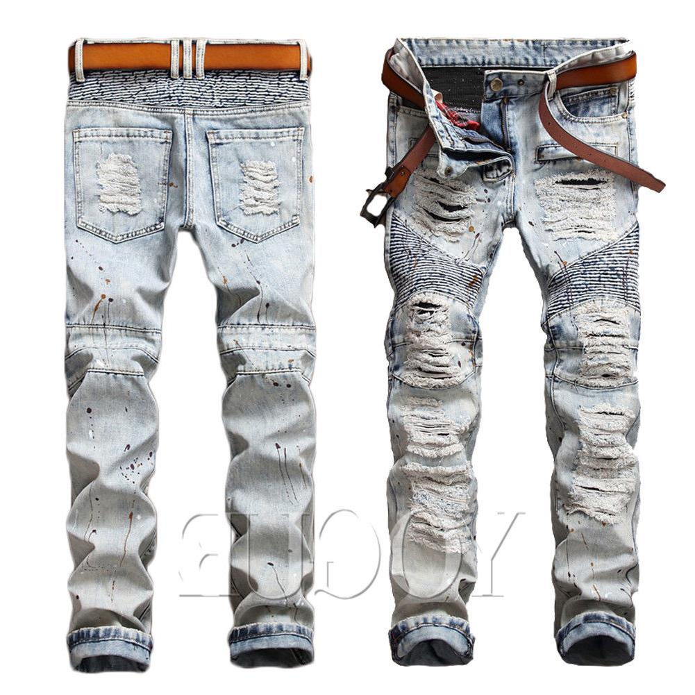 Men's Jeans Bleached Distressed