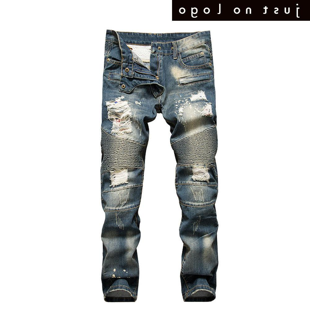 Men's Biker Jeans Distressed Slim Denim