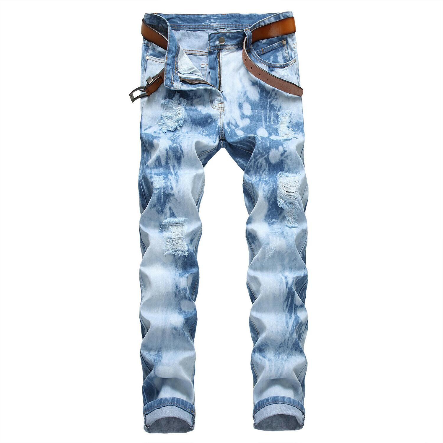 Men's Ripped Skinny Distressed Slim Jeans