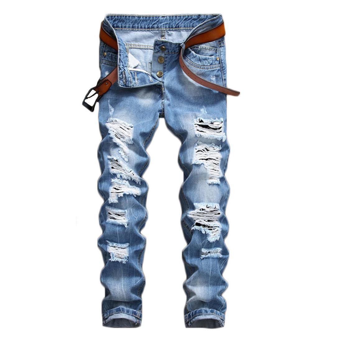 Men's Biker Ripped Jeans Bleached Slim