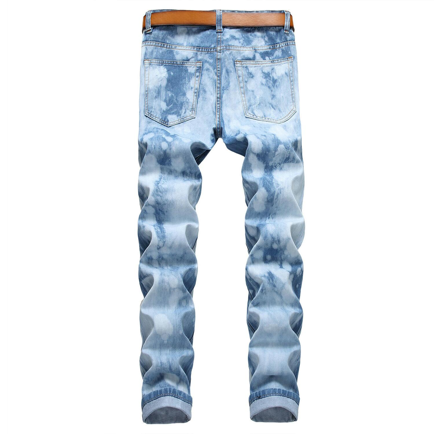 Men's Biker Ripped Jeans Bleached Distressed Slim Fit Denim