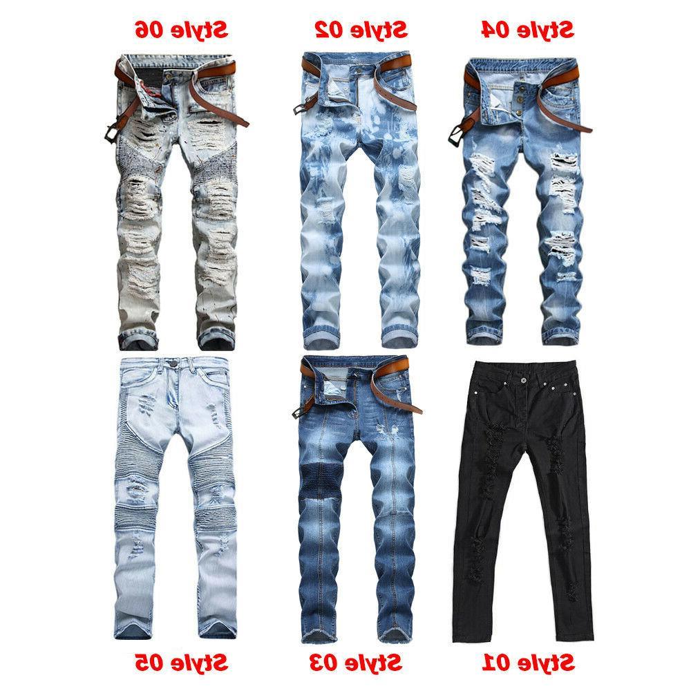 men s biker ripped skinny jeans bleached