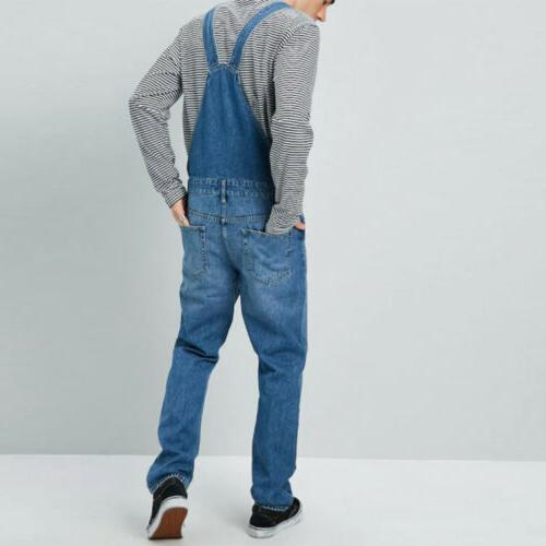 Men's Pants Full Length Jeans Suspender Overalls Dungarees