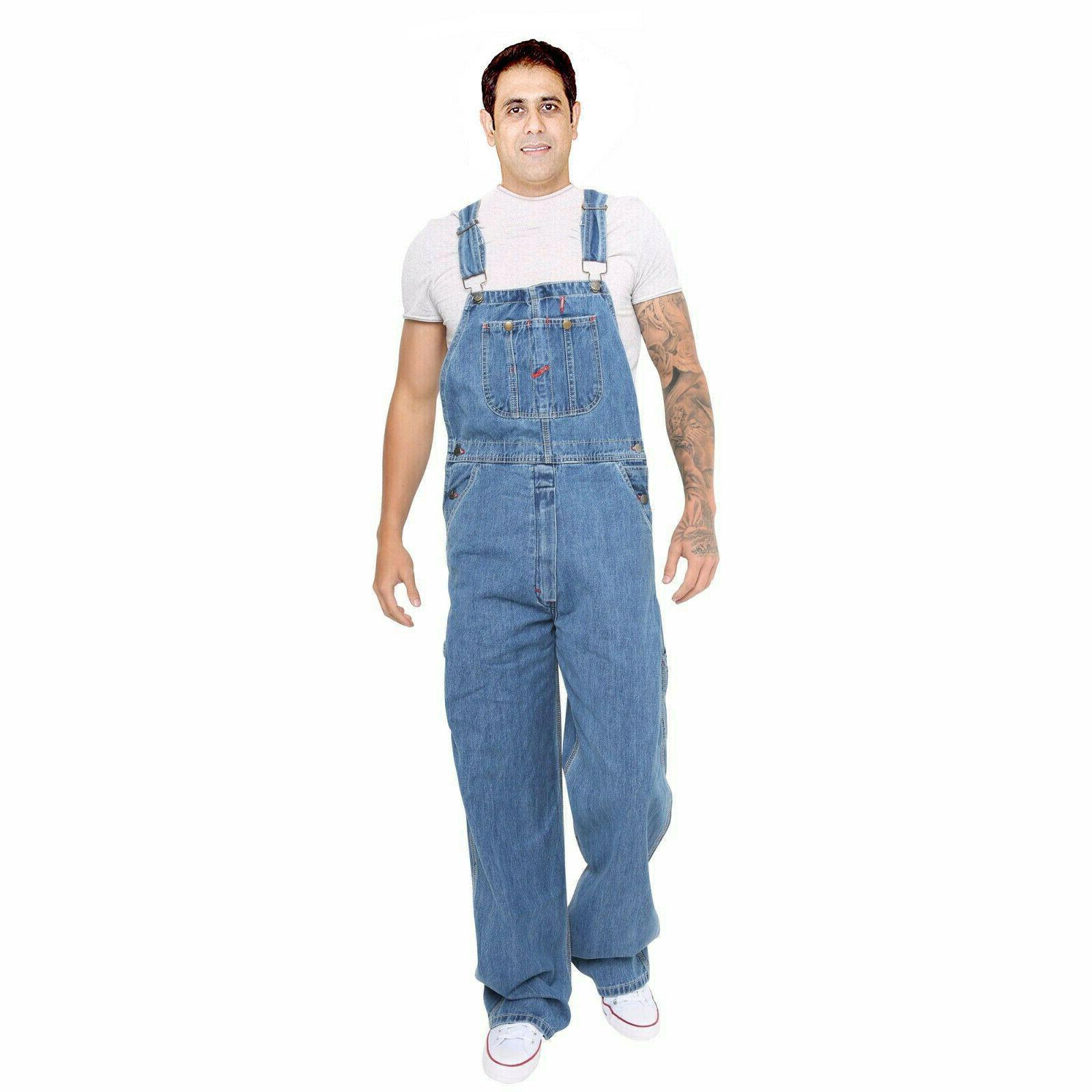 New Men/'s denim acid wash pleine longueur Dungarees jeans mi Bib Overalls Work Wear