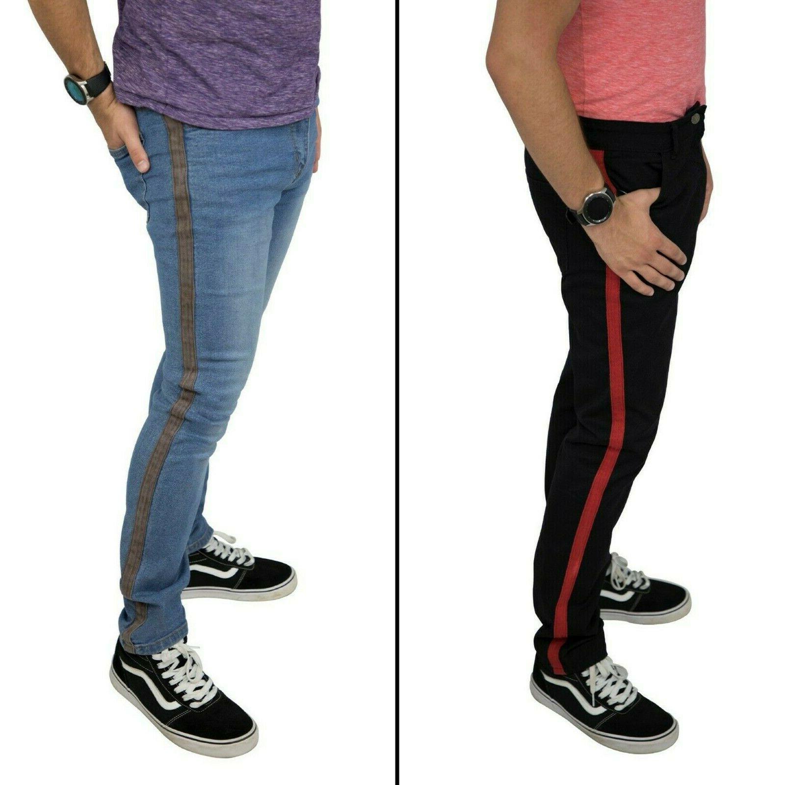 men s denim stripe jeans casual pants