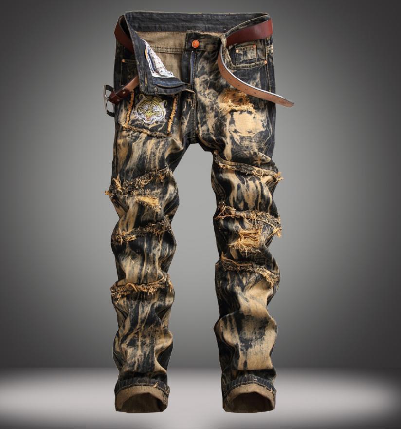men s designed ripped skinny biker jeans