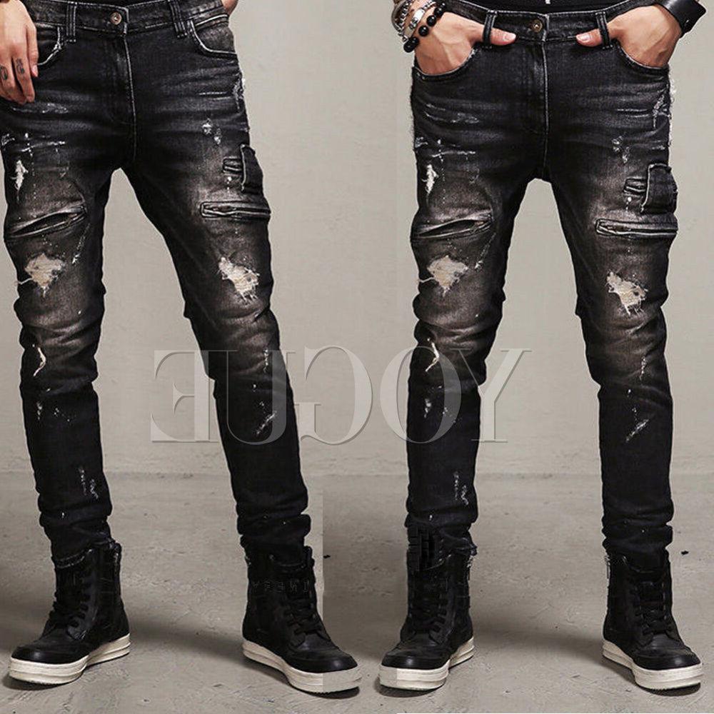 men s distressed ripped jeans moto black
