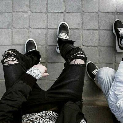 US Distressed Ripped Jeans Pants Slim Trousers