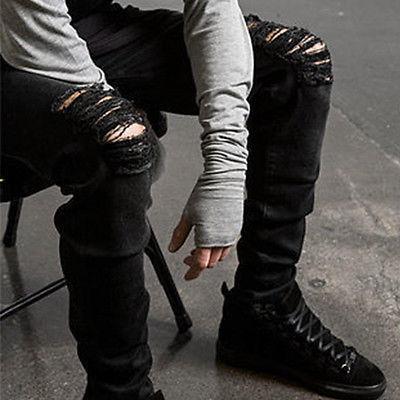 US Men's Jeans Black Pants Fit Trousers