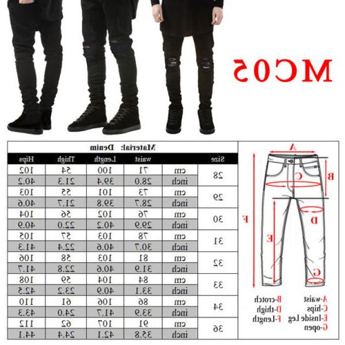 US Distressed Ripped Jeans Pants Trousers