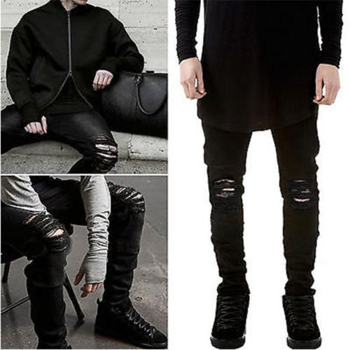 US Men's Distressed Ripped Jeans Black Denim Trousers