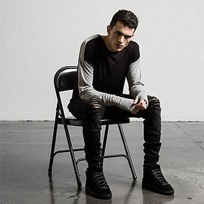 New Mens Distressed Ripped Jeans Moto Black Denim Pants Slim
