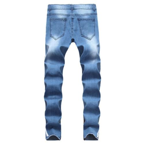 Men's Slim Stretch Pipped Skinny Jeans Fitness Denim