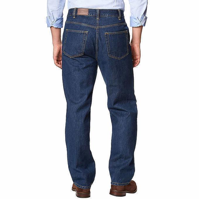 Kirkland Men Jeans Mens Relaxed Cotton Dark Blue
