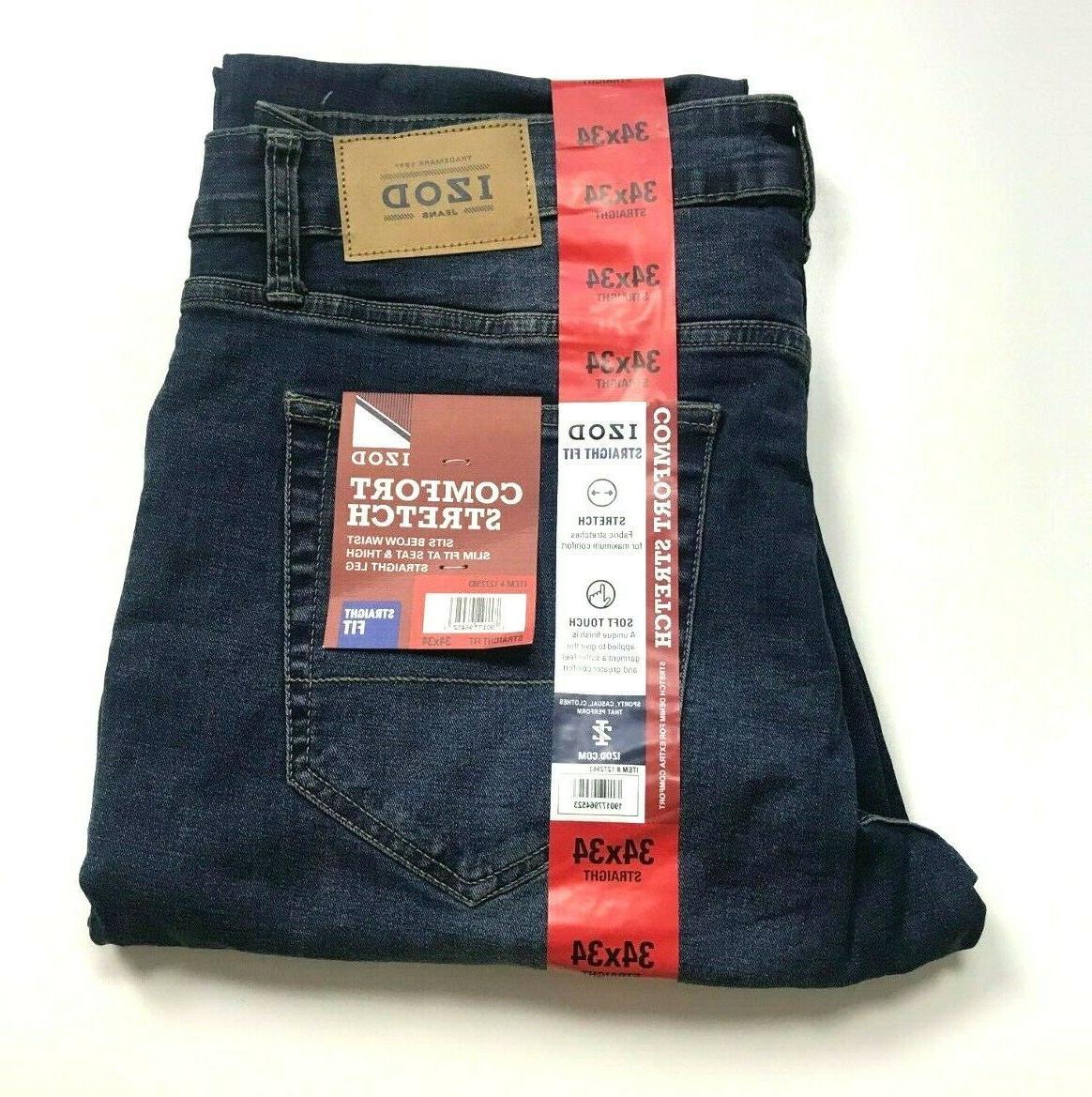united kingdom hot sales fresh styles IZOD Men's Jeans Comfort Stretch Straight Fit Pants Blue Size 34x34 NWT