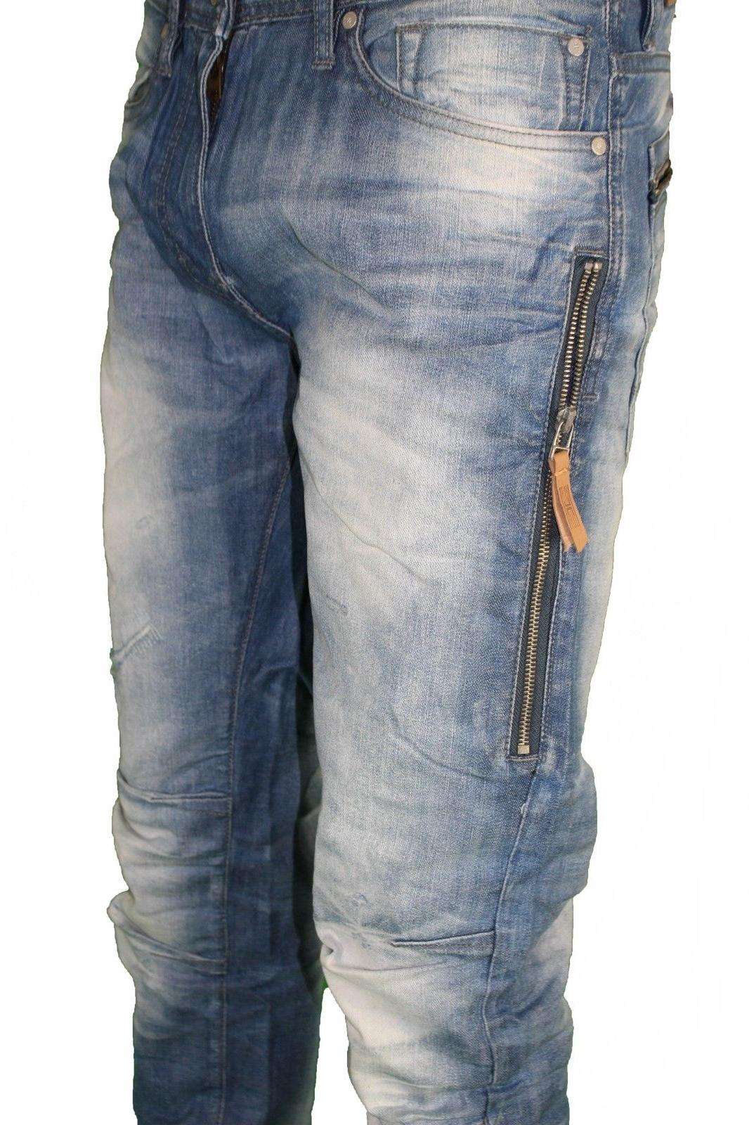 Men's Jeans Ripped Zippers SLIM 30-44
