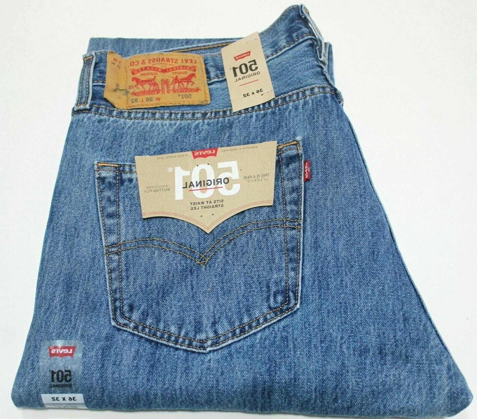 Men's Levi's 501 Medium Stonewash Blue Cotton Straight Leg B