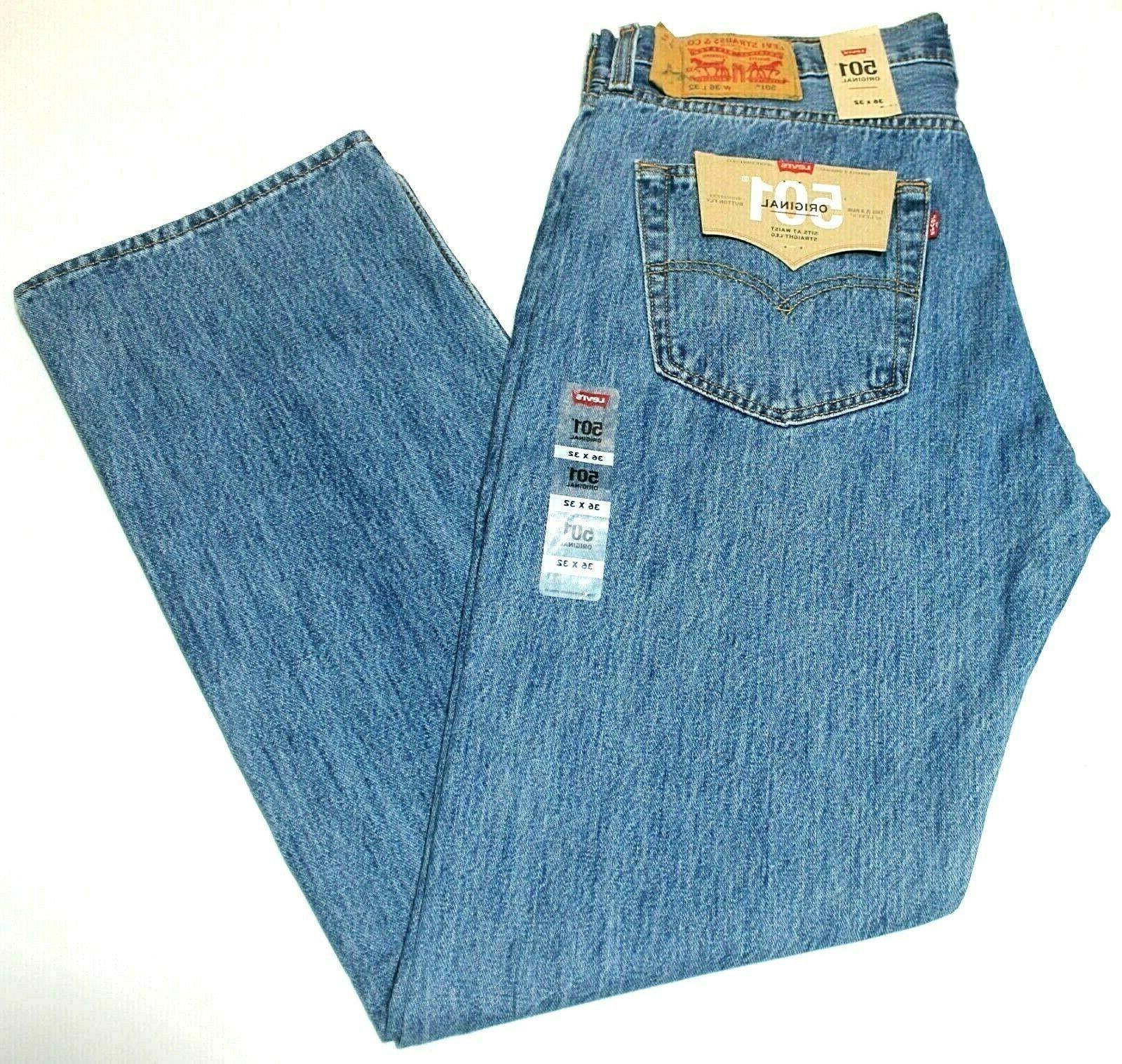Men's Stonewash Leg Button Fly Jeans-0193
