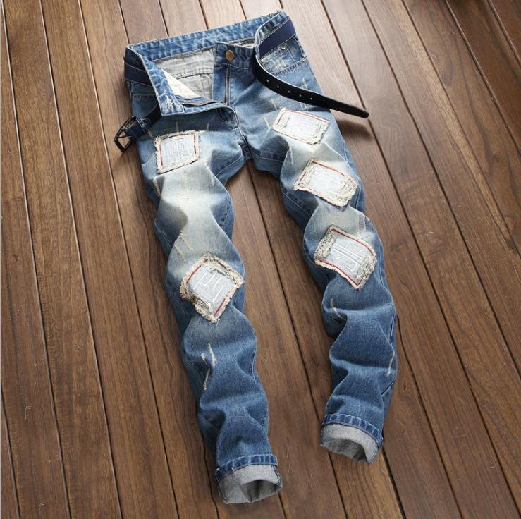 Fashion Light Ripped Destroyed Slim Fit Denim Pants US