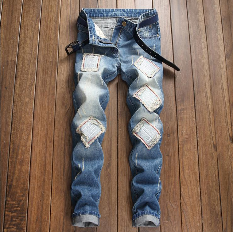 men s light blue ripped destroyed jeans