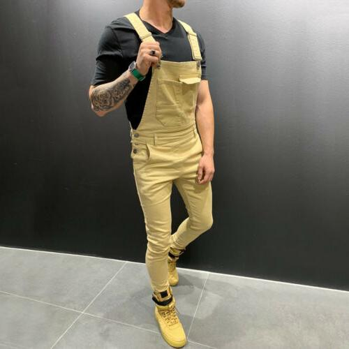 Men's Jeans Dungaree Overalls Ripped