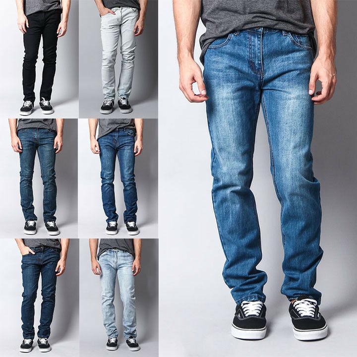 men s premium washed denim pants skinny