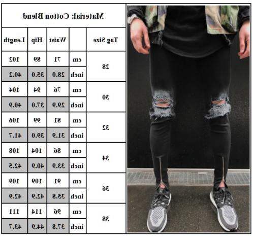 Men's Ripped Biker Skinny Slim Fit Pants Destroyed Frayed Trousers