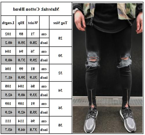 Men's Ripped Super Skinny Slim Fit Pants Destroyed Frayed Trousers