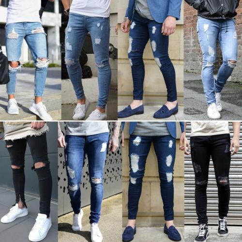 Men's Ripped Jeans Skinny Slim Pants Trousers