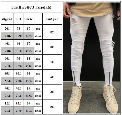 Men's Ripped Jeans Biker Skinny Slim Fit Pants Destroyed Frayed