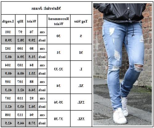 Men's Ripped Jeans Super Skinny Slim Fit Denim Pants Trousers