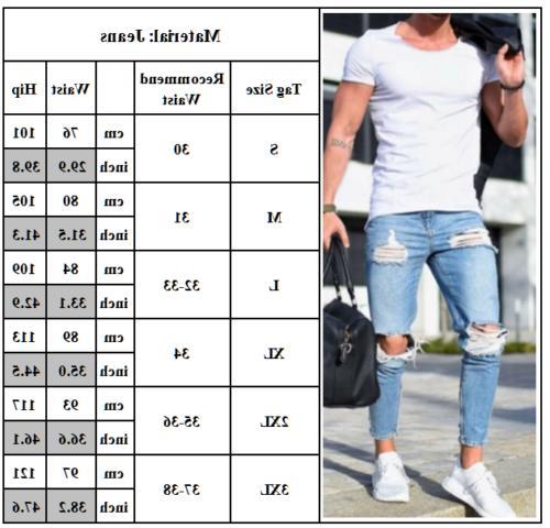 Men's Jeans Super Skinny Slim Fit Pants Frayed